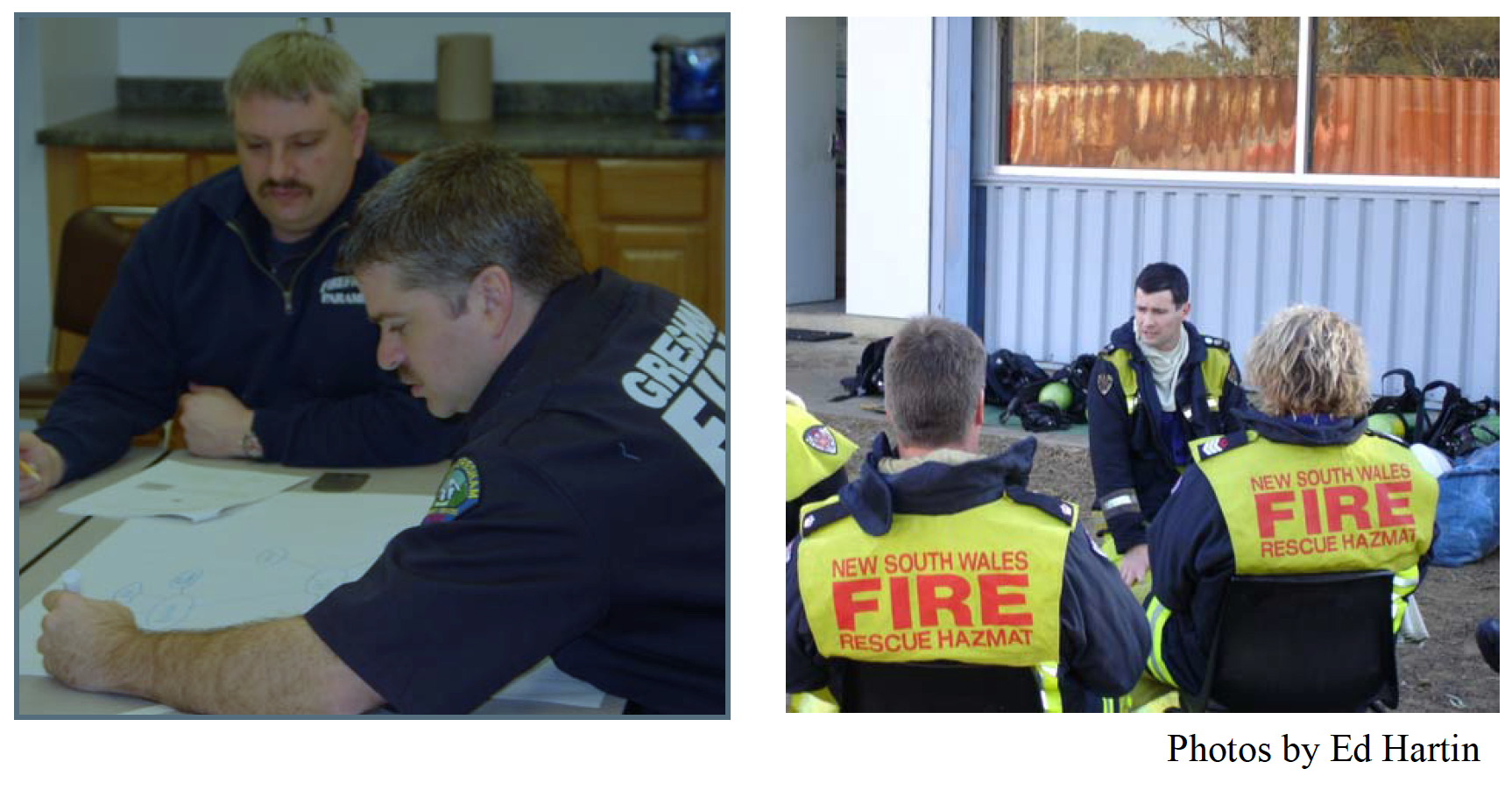 Firefighters and officers in Gresham, Oregon use fire behavior theory and their personal experience to develop a concept map illustrating fire behavior indicators during CFBT (below left). John McDonough (Australia) debriefs participants on their observations following a CFBT