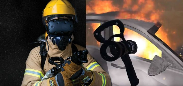 Firefighter with VR headset