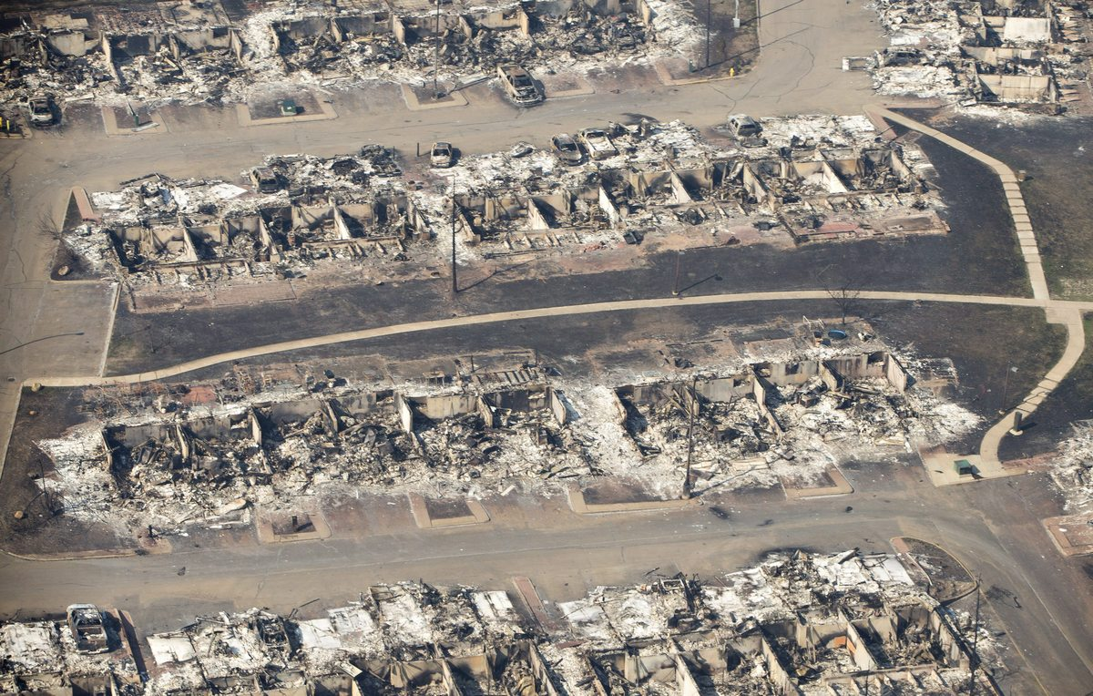 Fort McMurray after the 2016 forest fire which ended up consuming large areas of the city.. Photo by Google Earth