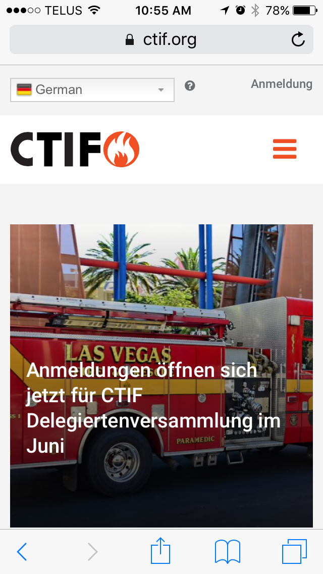 CTIF.org on a cell phone using automatic translations for German