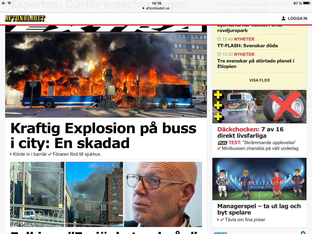 Expressen front page screen dump of the bio gas bus explosion