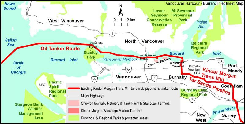 This map shows how the pipelines runs through areas that are by now heavily populated by local residences, a large university and business. The Burnaby fire services fear a number of Worst-Case-Scenarios if the capacity of the crude oil pipeline is tripled according to plans. Illustration by the Western Canada Wilderness Committee