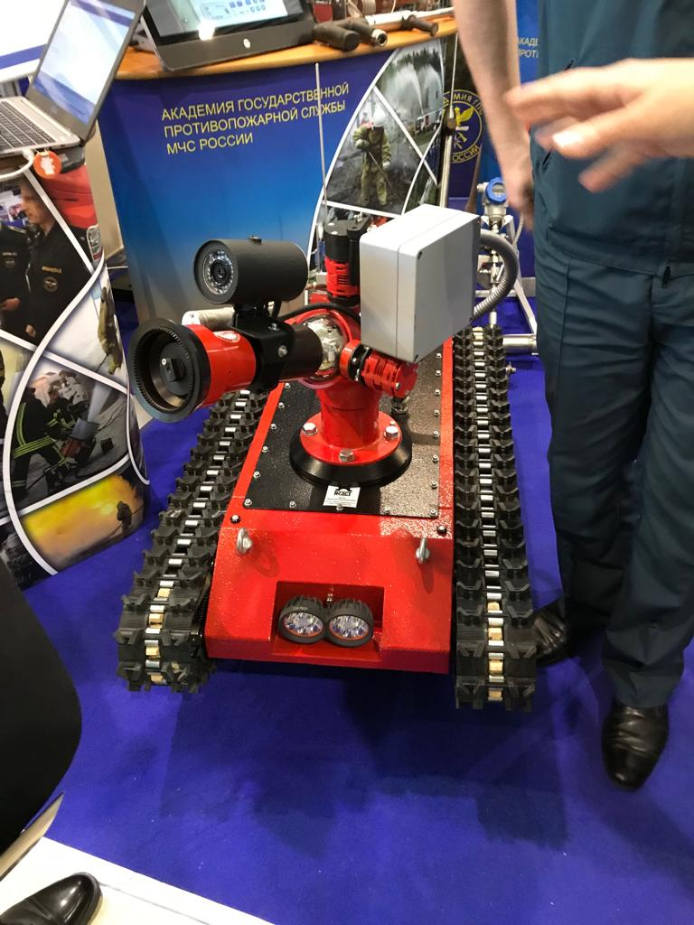 A firefighting robot at the ISSE exhibition in Moscow.