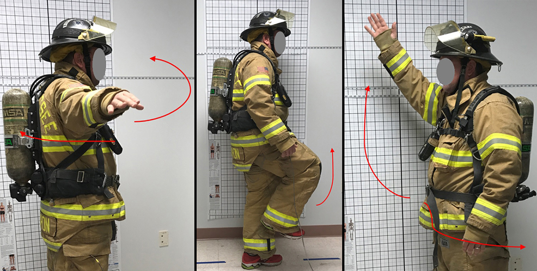 A firefighter performs range of motion tests for the study. Photo: FLU