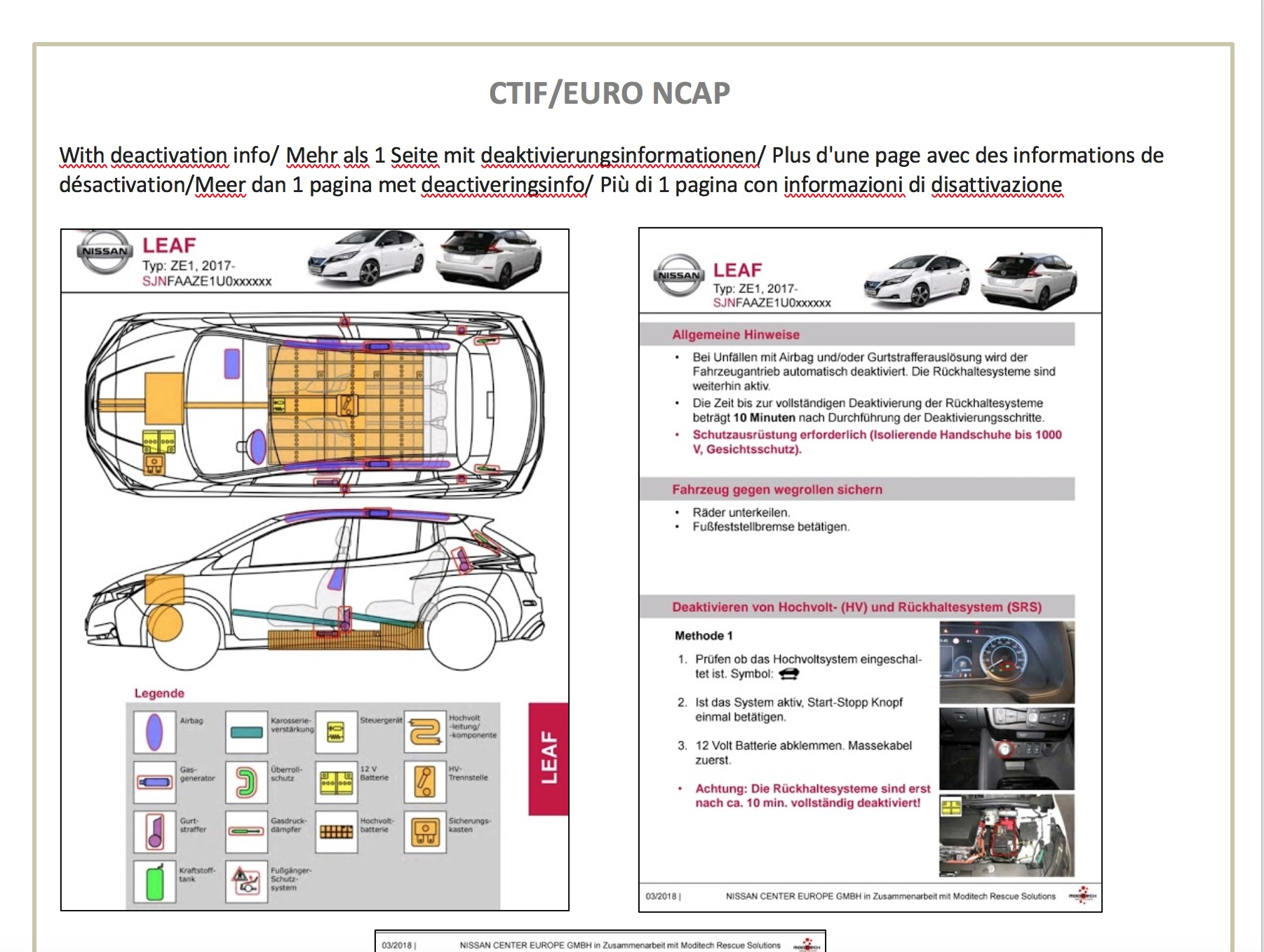 A screen shot from the rescue sheet of a Nissan Leaf.