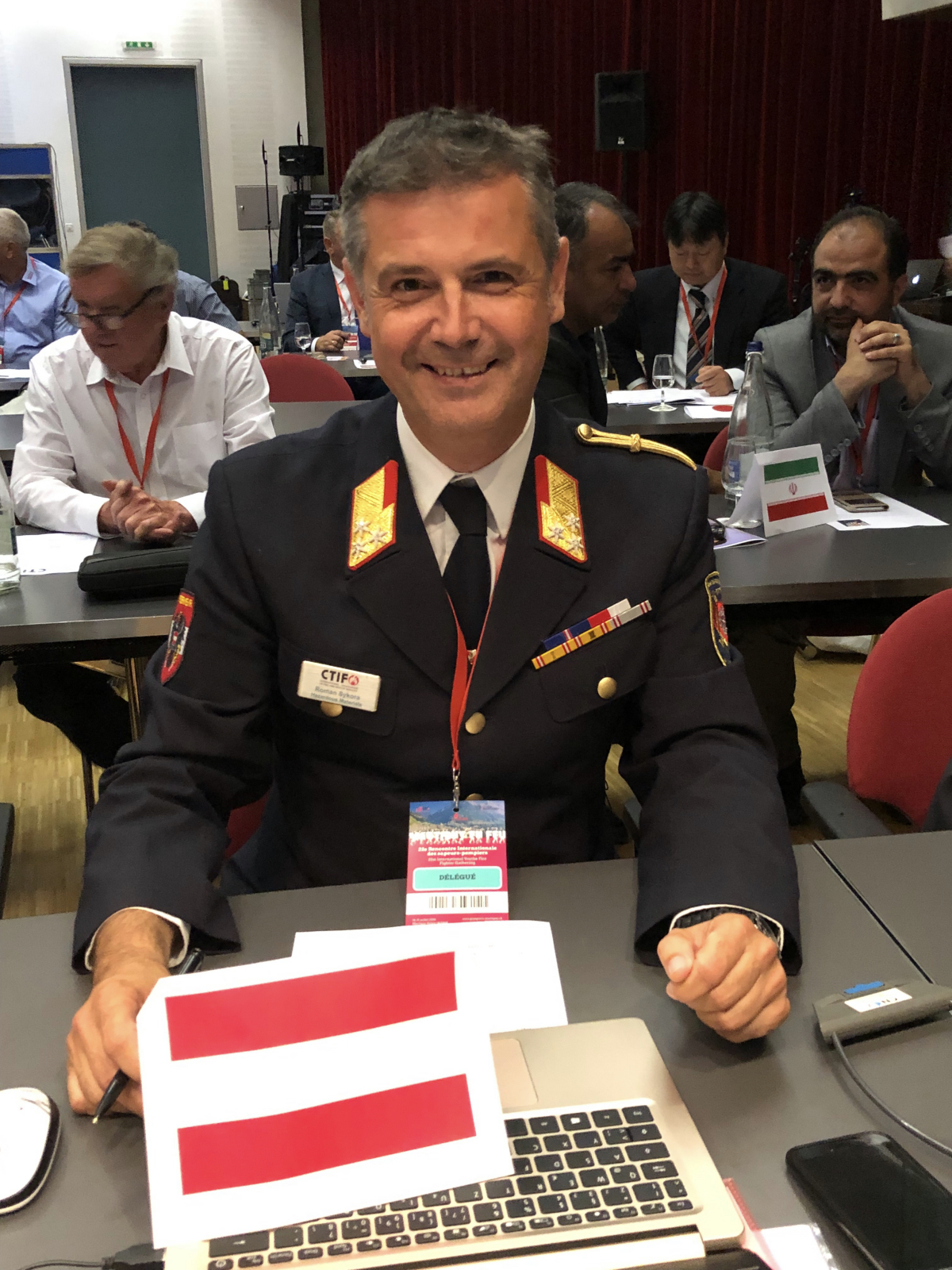 Roman Sykora at the CTIF Delegates Assembly, 2019, minutes after being elected new general secretary of the CTIF Executive Comittee.