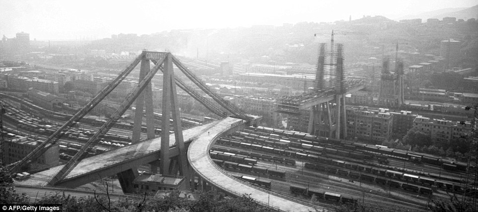 The Morandi Bridge just before its completion in 1967.