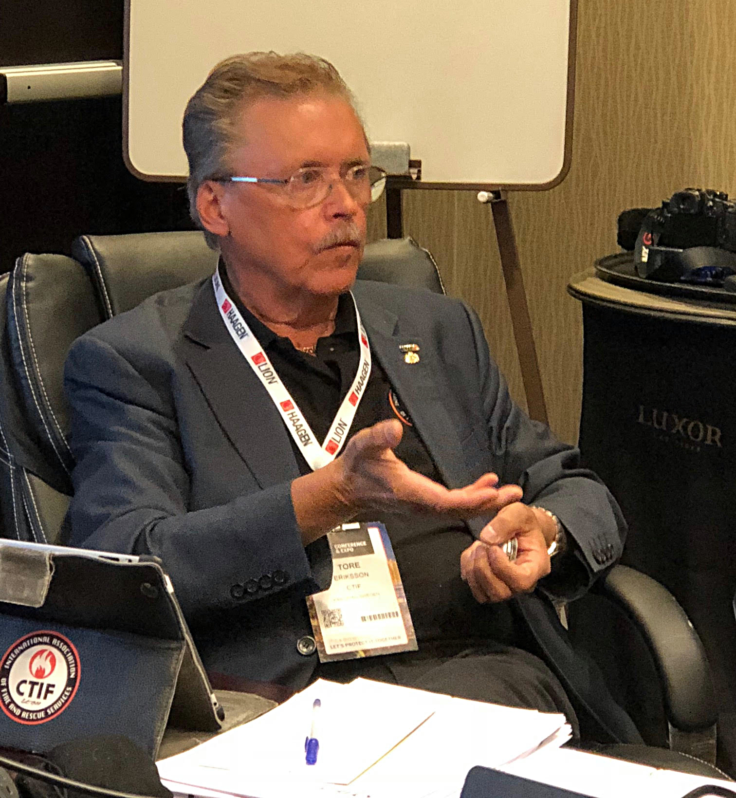 CTIF President Tore Eriksson at Executive Committee in Las Vegas 2018.