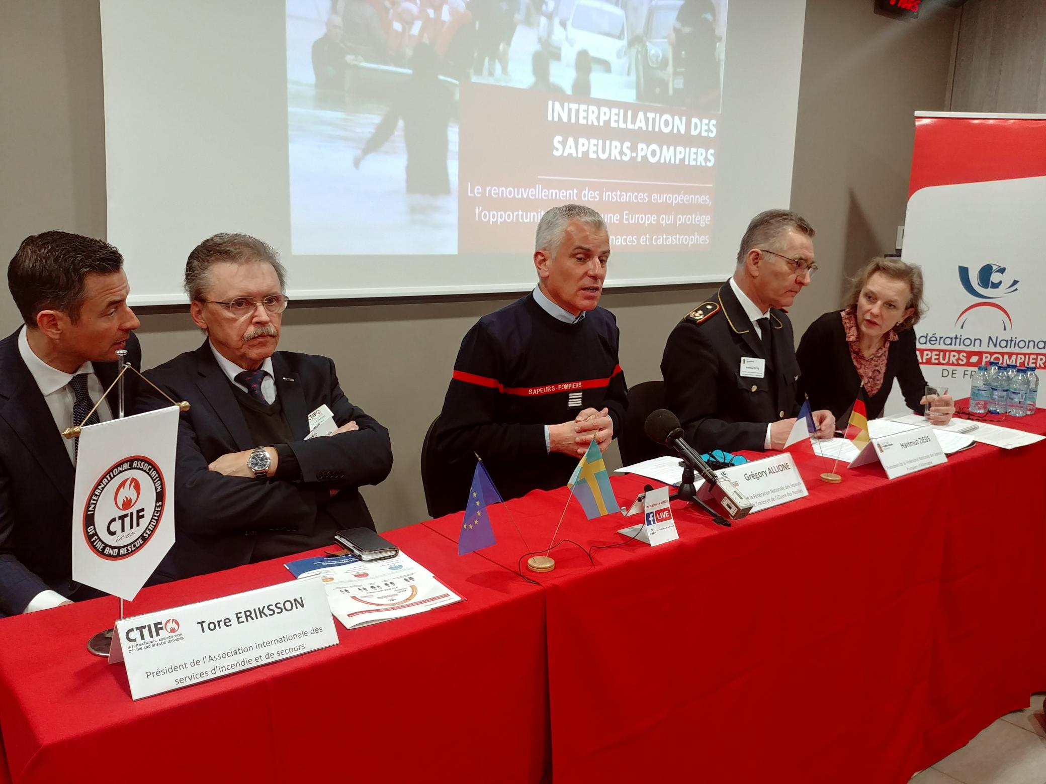 CTIF President Tore Eriksson at a Press Conference in Paris on March 6 2019, about the effects of the European Working Time Directive on voluntary firefighters.