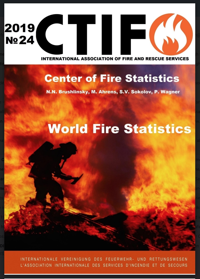Cover of World Fire Statistics, Issue no 24 - 2019