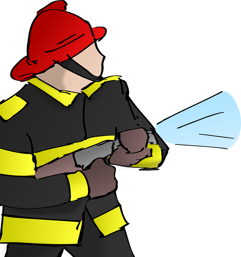 Graphic of a firefighter with a hose