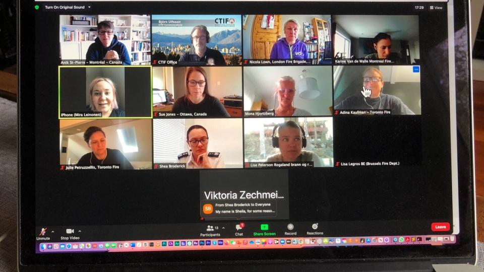From the second monthly Zoom discussions with Women in Fire & Rescue Services