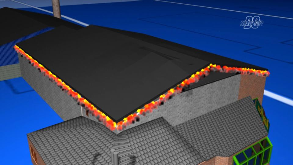 3D-recreation of a roof being lifted by the force of a fire gas explosion.