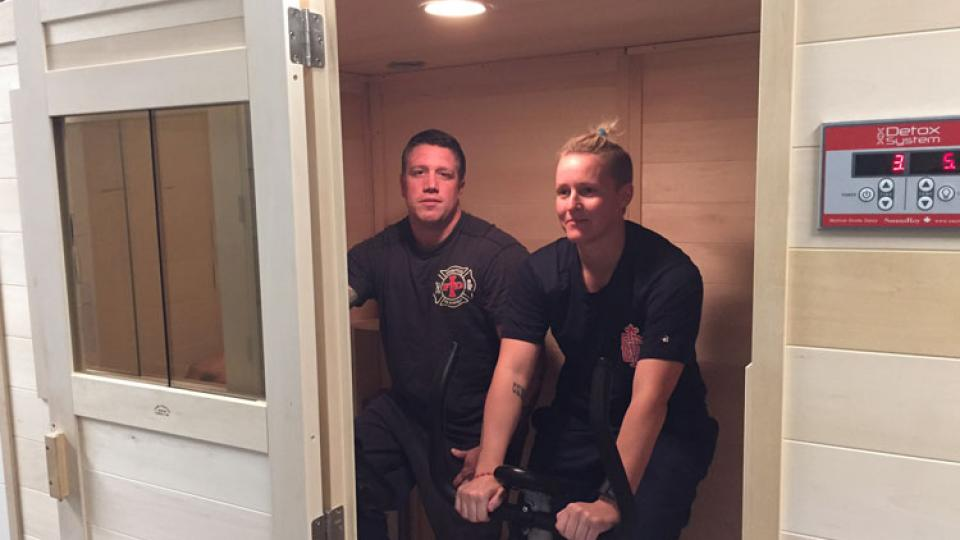 Members of the Indianapolis Fire Department in their Detox Sauna.