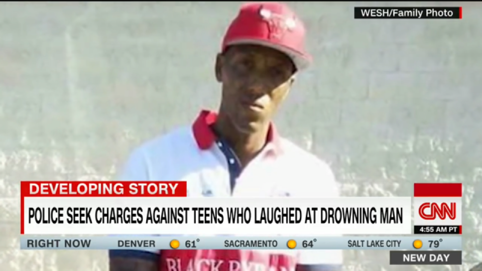 The drowned disabled man in a screen shot from CNN´s YouTube video.
