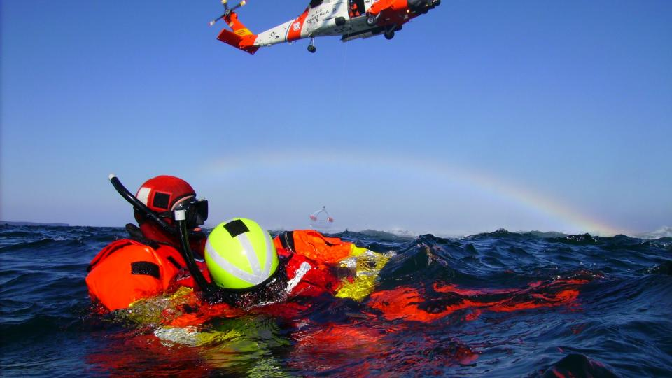 A Coast Guard MH-60 Jayhawk helicopter during open water training. (U.S. Coast