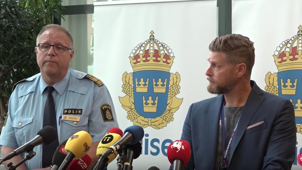 Police at a press conference in Malmö following the deadly shooting on June 18 2018.