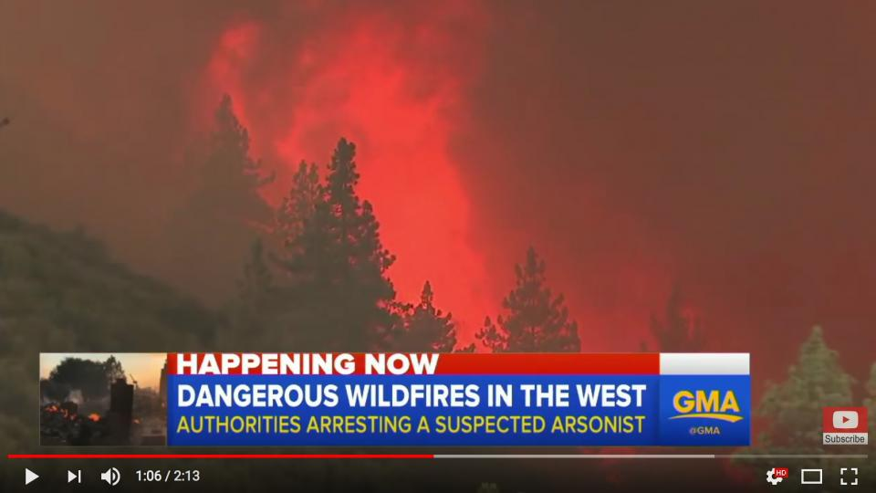 Screen dump of ABC news clip of the wildfires in Southern California