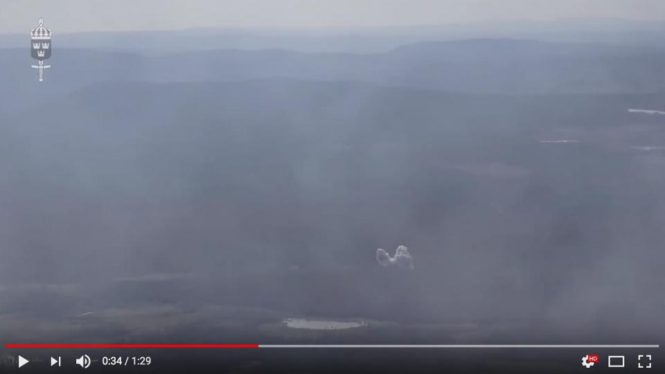 Detonation of one of the bombs that were used to fight the fire in the county of Dalarna, from the point of view of the cockpit of the fighter jet. Photo by Swedish Air Force
