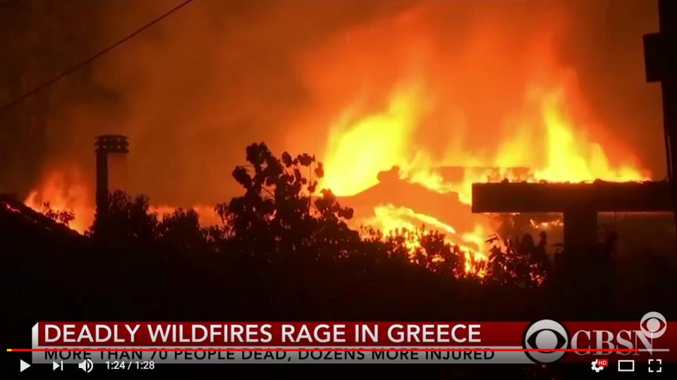 CBS youtube video screen shot of the Greek fires.