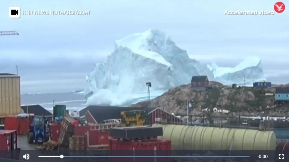 KNR News screen shot from the iceberg at Innaarsuit, Greenland