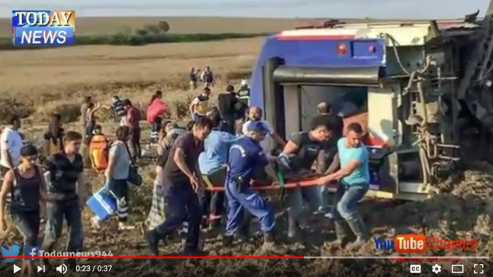 Rescue workers extricating victims from the turkish train derailment.