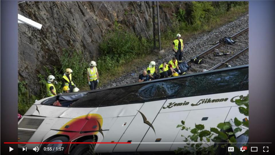 Screen shot from News Zone´s YouYube video of the bush accident in Finland.