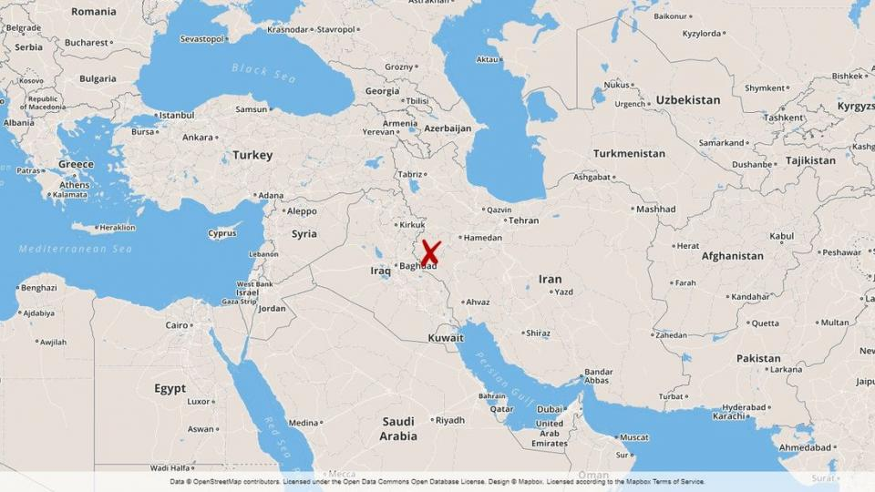Map of where the earthquake occured in Iran