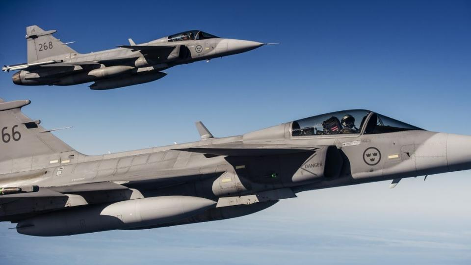 Two Swedish fighter jets JAS 39 Gripen. Photo by Robin Lorentz-Allard