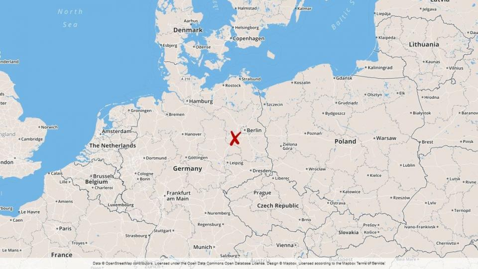 Map of area where the forest fire is buring near Berlin.