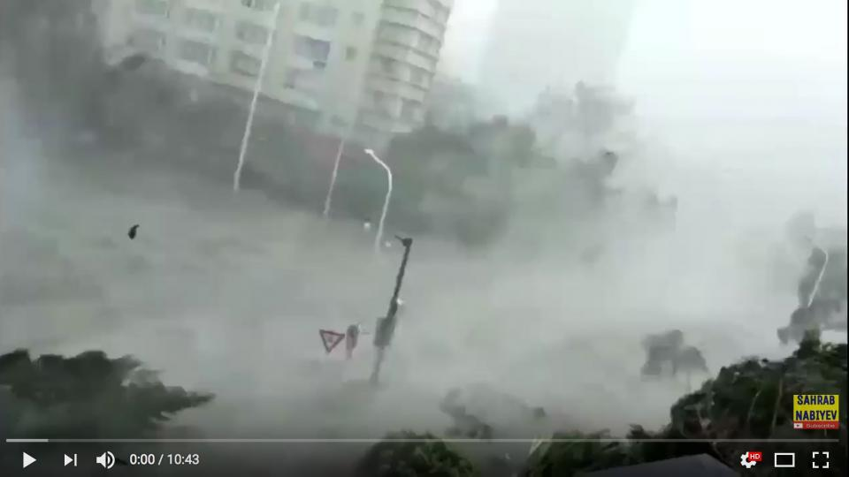 Screenshot from a collection of private footage of the typhoon hitting Hong Kong.