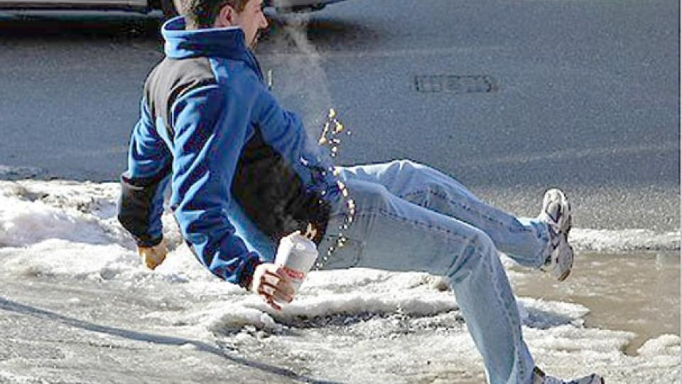 Man slipping on ice. Photo by Abeyta Nelson Injury Law