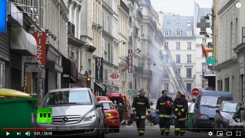 Paris Explosion. Screen shot from RT-youtube video.