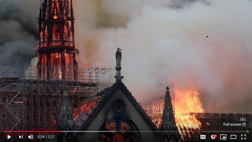 Notre Dame fire. Screenshot from CBC news video on YouTube.