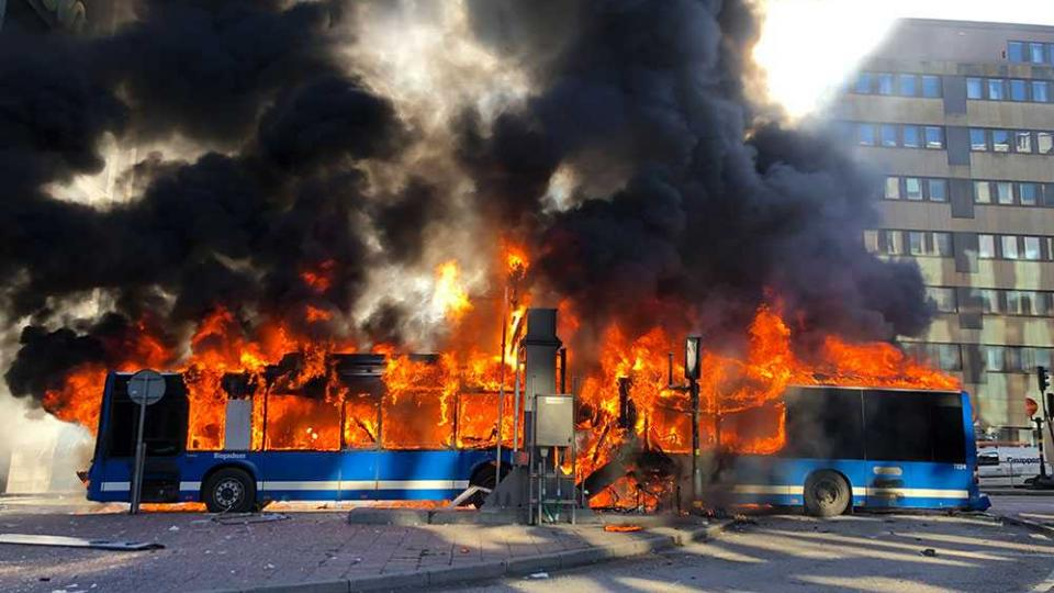 The CNG bus fire in Stockholm, March 2019. Photo by an eye witness to the accident.