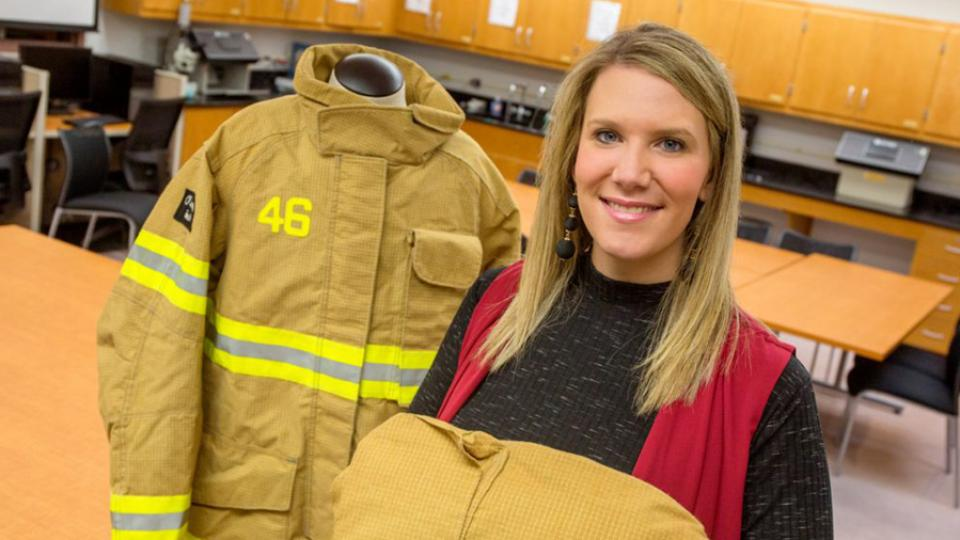 Meredith McQuerry, an assistant professor in the Jim Moran College of Entrepreneurship. Her research investigated the different problems male and female firefighters have with flexibility and range of motion in their protective equipment. Photo from  FLORIDA STATE UNIVERSITY NEWS  THE OFFICIAL NEWS SOURCE OF FLORIDA STATE UNIVERSITY