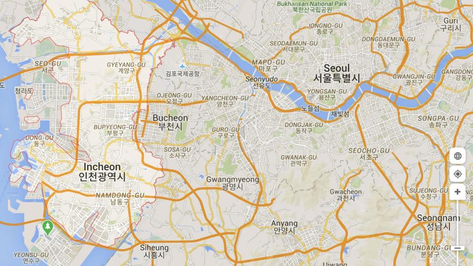 Map over Seoul and Incheon, South Korea. Illustration by Google Maps