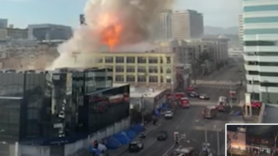 A screenshot from the LA Times Youtube video of the fire on Saturday.