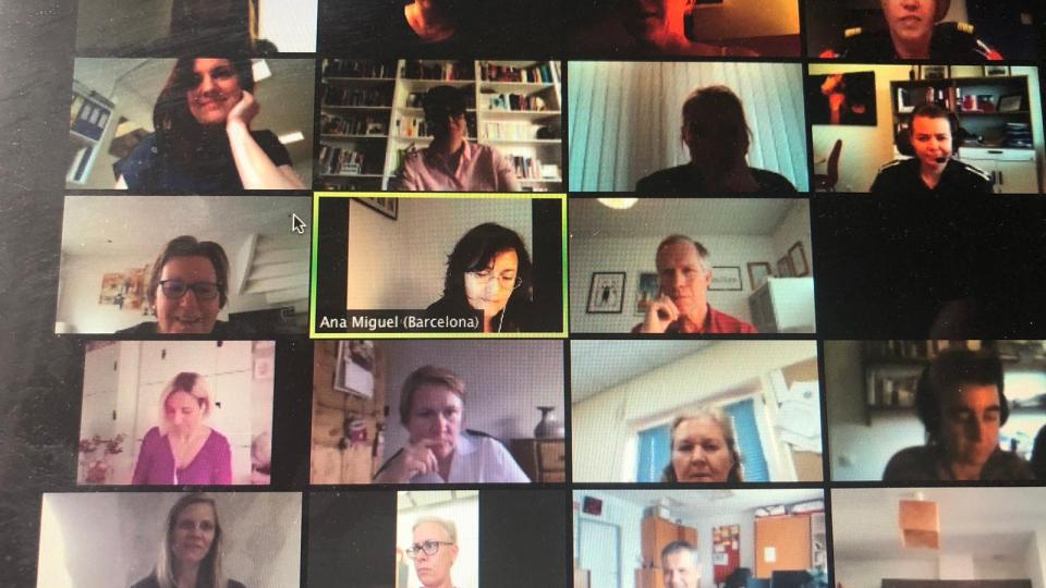 Screen shot from the virtual meeting, with some of the members of the CTIF Women in Fire & Rescue Commission and other invited participants.
