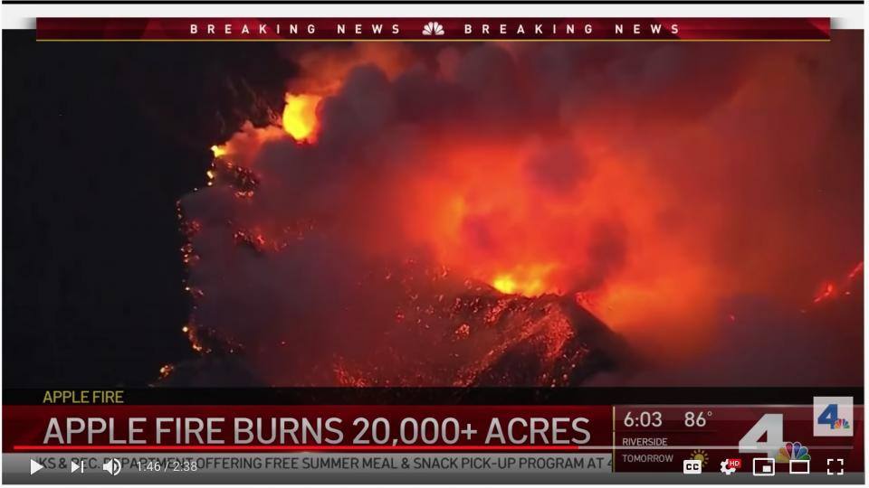 "The ""Apple Fire"" in California. Screenshot from the NBC video below."