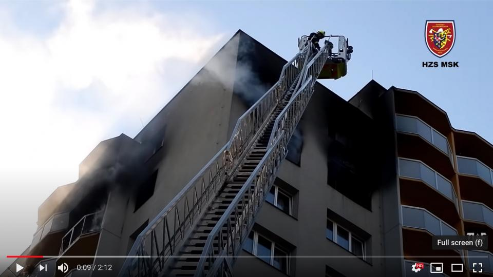 Aftermath of the high rise fire in Bohumin. Photo from the video by the Czech fire services.