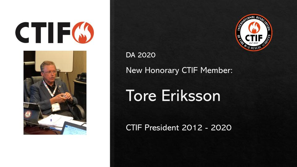 New Honorary Member of CTIF Tore Eriksson, President 2012 - 2020