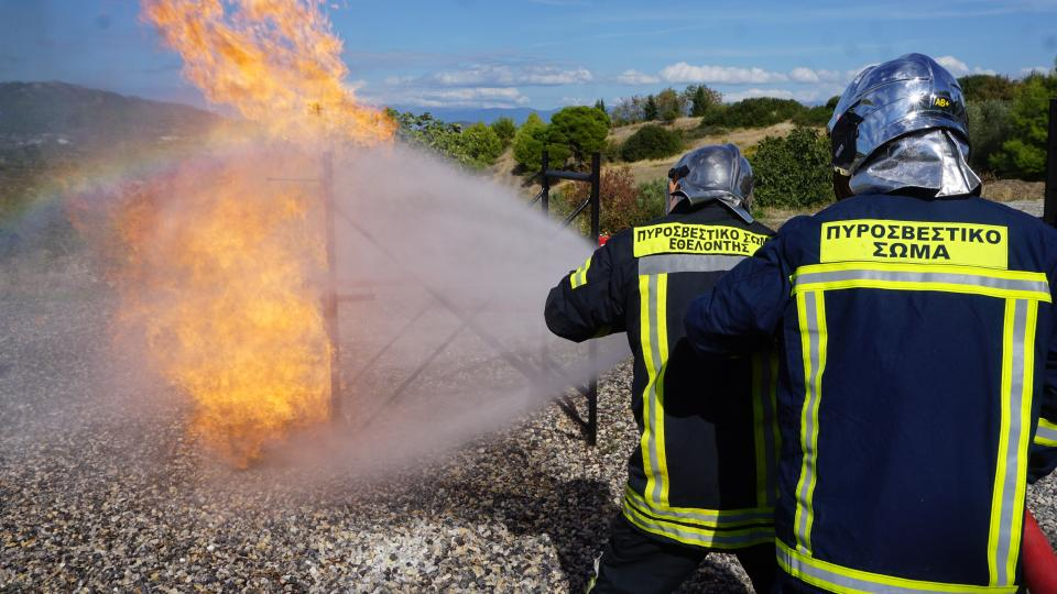 Gas fuel firefighting training in Greece. Photo: The Hellenic Volunteer Firefighters Association