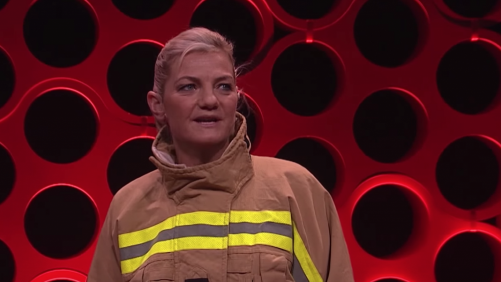 Bronnie Mackintosh is a Winston Churchill Fellowship recipient. As a station officer with Fire and Rescue NSW, she travelled the world to research how international fire agencies are changing their workforces to be more reflective of the diverse communities they protect. Photo: Screenshot from the TedX talk video.