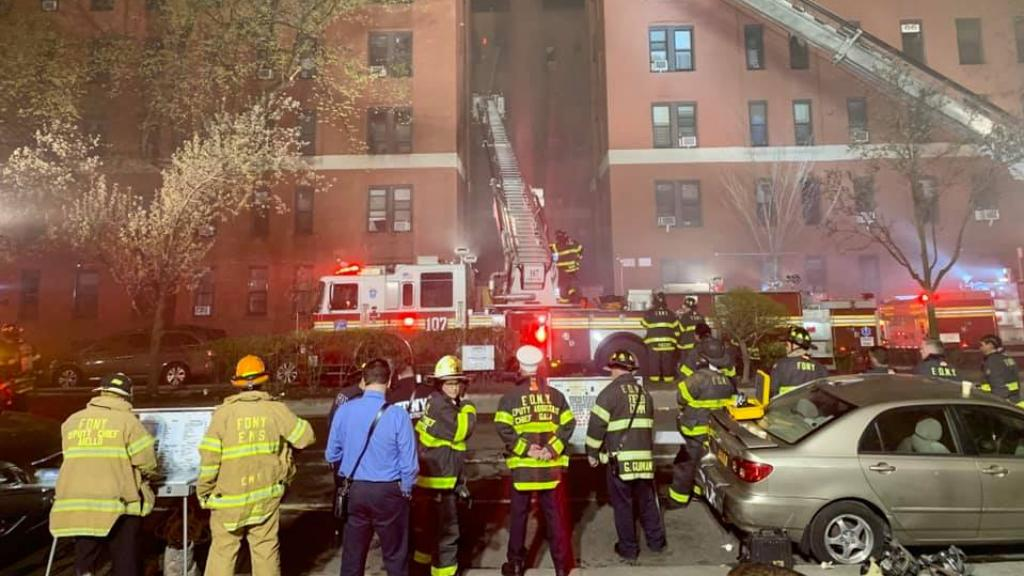 An apartment fire in Queens, NYC, injured 16 firefighters on April 6, 2021. Photo: NYFD