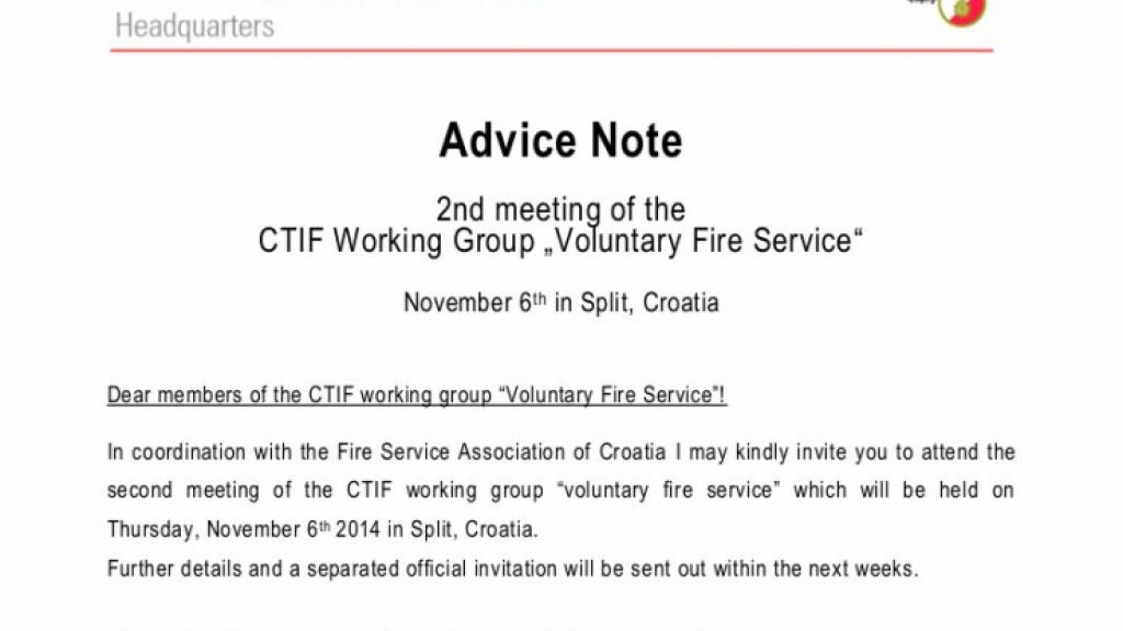"2nd meeting of the CTIF Working Group ""Voluntary Fire Service"""