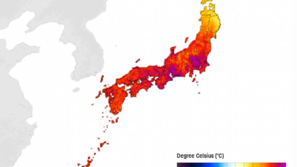 Map over Japan, showing the temperatures in late July 2018.