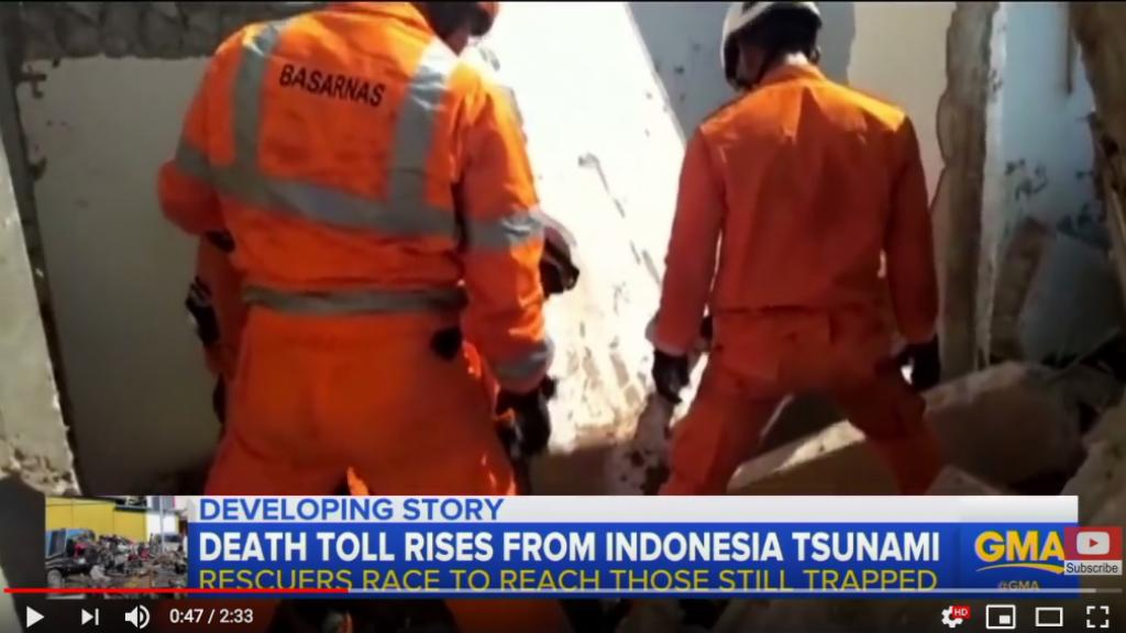 USAR teams in Indonesia. Photo: Screen shot from ABD news clip