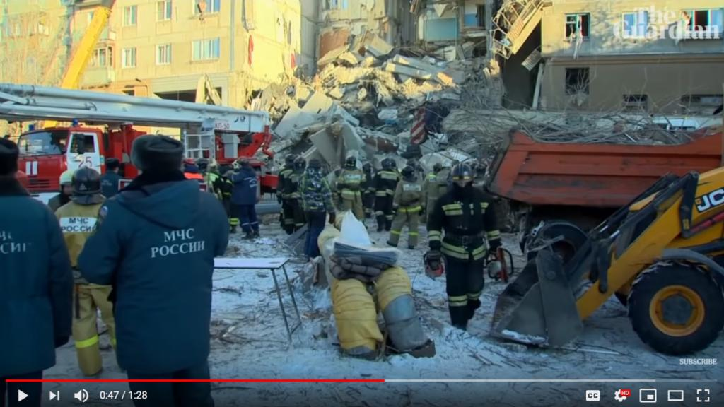 Residential explsion in Russia kills 37. Photo: Screen dump from The Guardian.