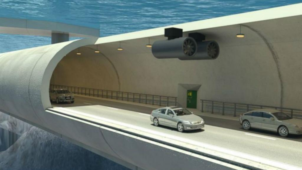 An illustration shows the inside of a potential submerged floating tunnel that would be used to cross a fjord in Norway.P hoto by Norwegian Public Roads Administration P
